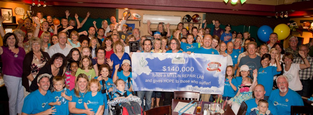 Team Judson's Legacy celebrating their $140,000 victory with family and friends!